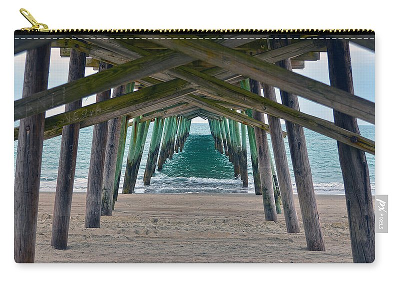 Bogue Banks Fishing Pier Carry-all Pouch featuring the photograph Bogue Banks Fishing Pier by Sandi OReilly