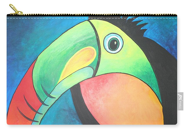 Toucan Carry-all Pouch featuring the painting Bold Toucan by Taiche Acrylic Art