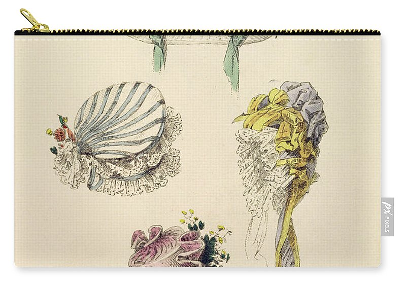 Costume Carry-all Pouch featuring the drawing Bonnets For An Occasion, Fashion Plate by English School