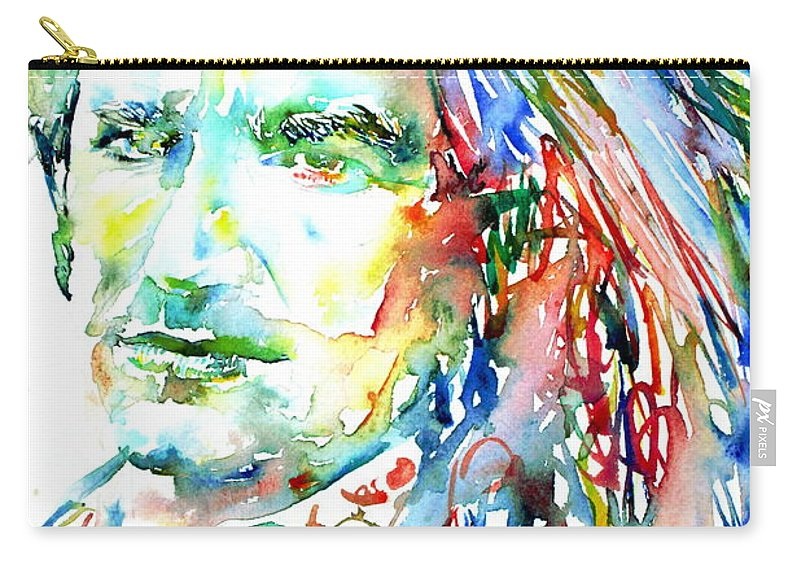 Bono Carry-all Pouch featuring the painting Bono Watercolor Portrait.2 by Fabrizio Cassetta