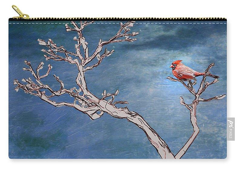 Cardinal Carry-all Pouch featuring the digital art Bonsai Cardinal by John Haldane