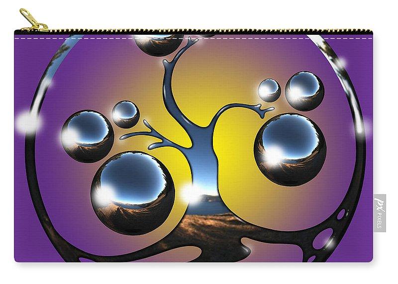 Tree Carry-all Pouch featuring the digital art Bonsai Chrome Logo by Robert Fenwick May Jr