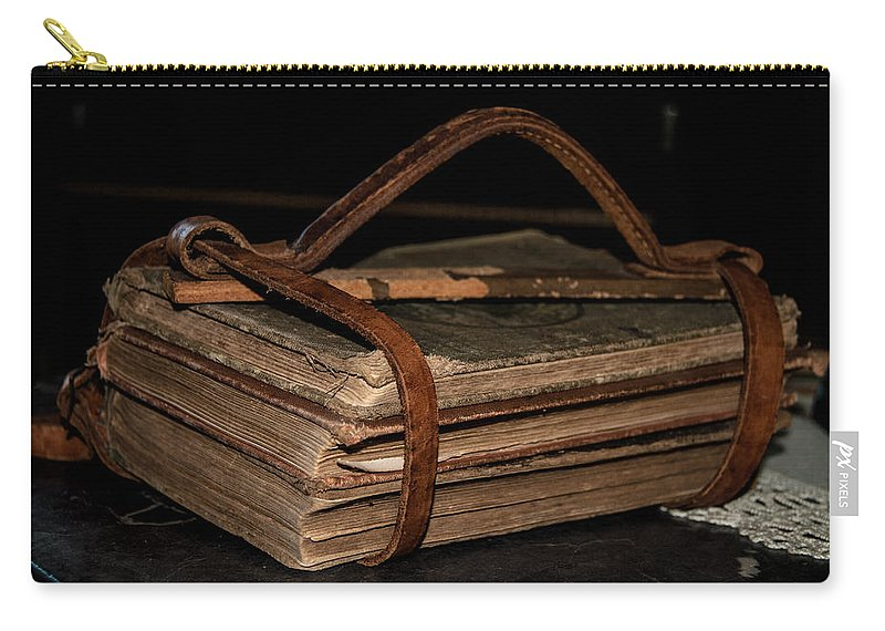 Vintage Carry-all Pouch featuring the photograph Book Straps by Jon Cody
