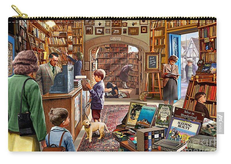 Children Carry-all Pouch featuring the digital art Bookshop by Steve Crisp