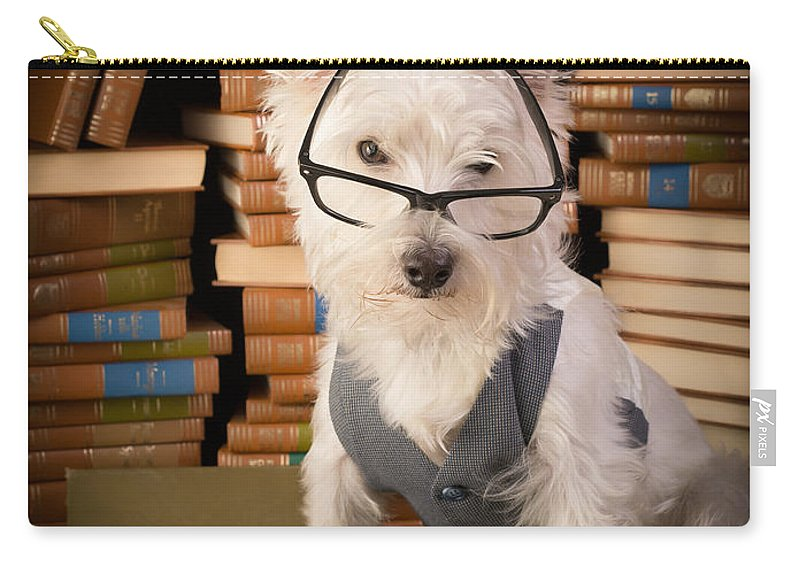 Books Carry-all Pouch featuring the photograph Bookworm Dog by Edward Fielding