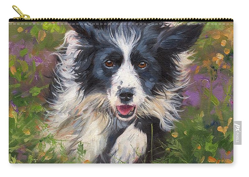 Border Collie Carry-all Pouch featuring the painting Border Collie by David Stribbling