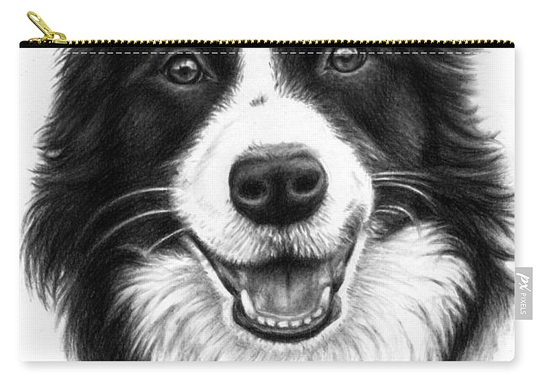 Dog Carry-all Pouch featuring the drawing Border Collie by Nicole Zeug
