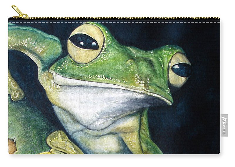 Frog Carry-all Pouch featuring the painting Boreal Flyer Tree Frog by Joey Nash