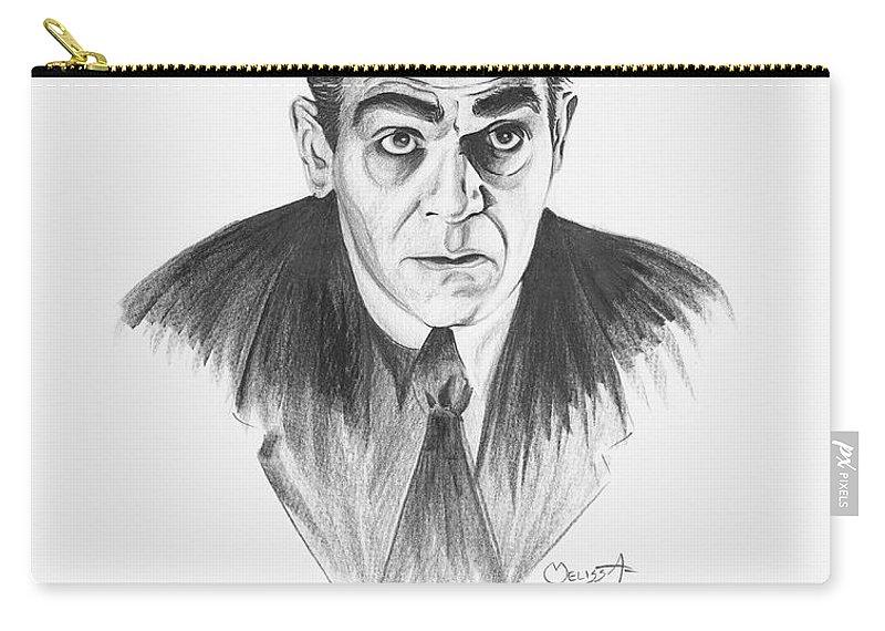 Boris Karloff Carry-all Pouch featuring the painting Boris Karloff by Melissa A Benson
