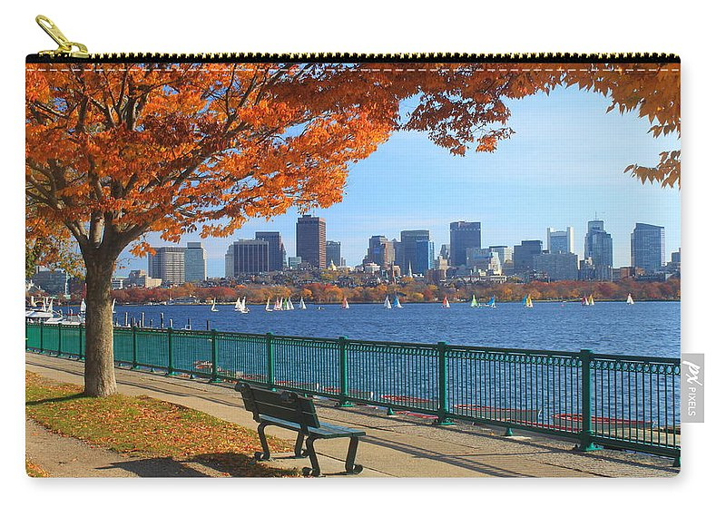 Boston Carry-all Pouch featuring the photograph Boston Charles River in Autumn by John Burk