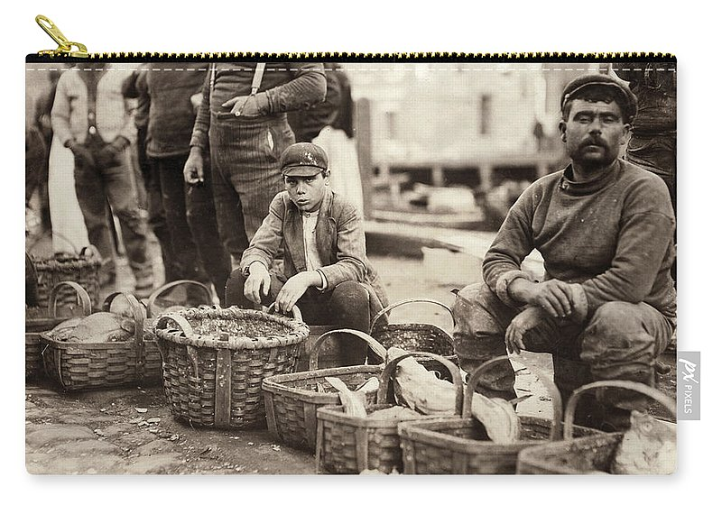 1909 Carry-all Pouch featuring the photograph Boston Fish Market, 1909 by Granger