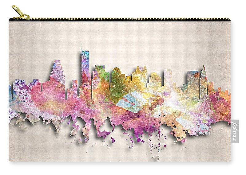 Boston Carry-all Pouch featuring the digital art Boston Painted City Skyline by World Art Prints And Designs