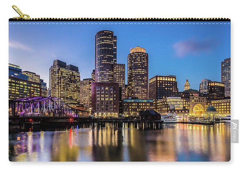 Downtown District Carry-all Pouch featuring the photograph Boston Skyline At Sunset by (c) Swapan Jha