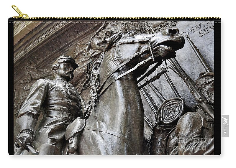 Memorial Plaque Carry-all Pouch featuring the photograph Robert Gould Shaw Memorial by Staci Bigelow