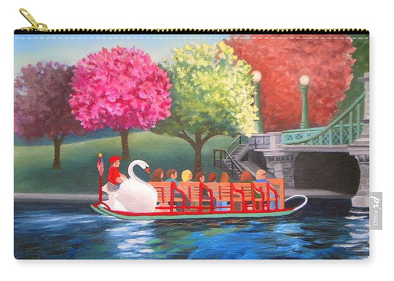Boston Carry-all Pouch featuring the painting Boston Swan Boat by Liz Boston
