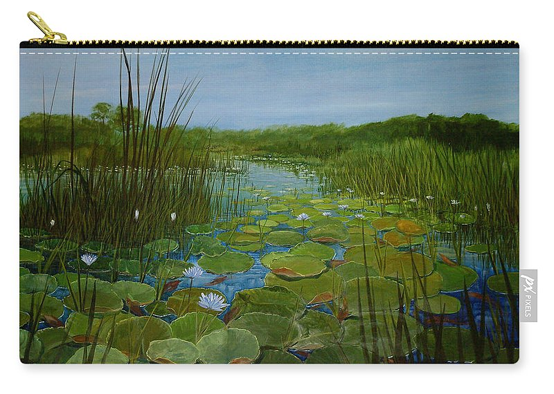 South Africa Carry-all Pouch featuring the painting Botswana Lagoon by Maryann Boysen