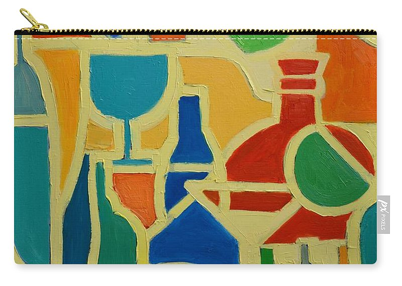 Abstracts Carry-all Pouch featuring the painting Bottles And Glasses 2 by Ana Maria Edulescu