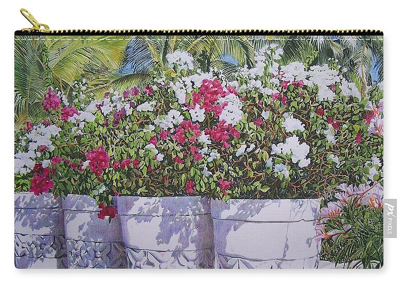 Flowers Carry-all Pouch featuring the mixed media Bougainvillea by Constance Drescher