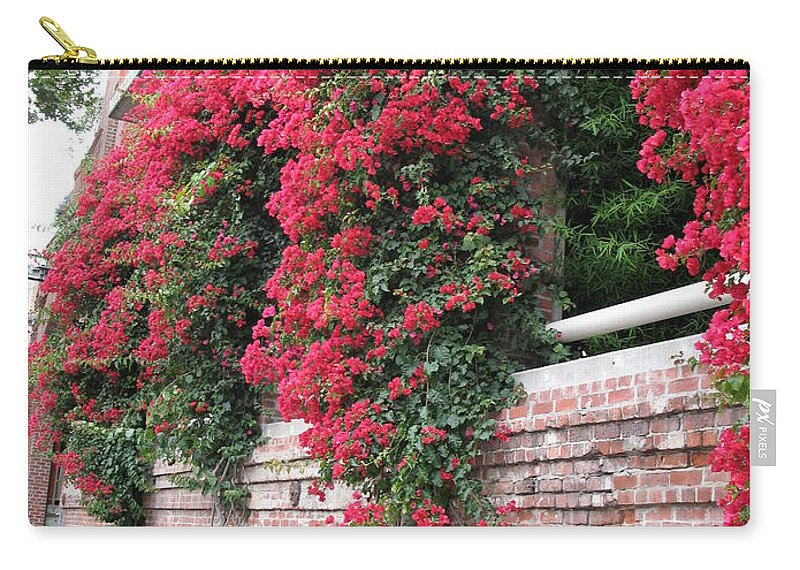 San Francisco Carry-all Pouch featuring the photograph Bougainvillea Wall In San Francisco by Christiane Schulze Art And Photography
