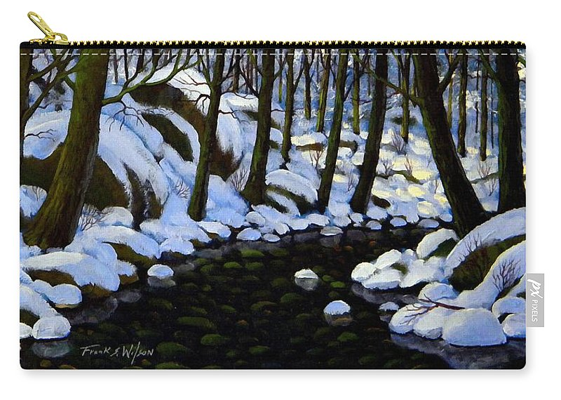 Winter Carry-all Pouch featuring the painting Boulder Brook In Winter by Frank Wilson