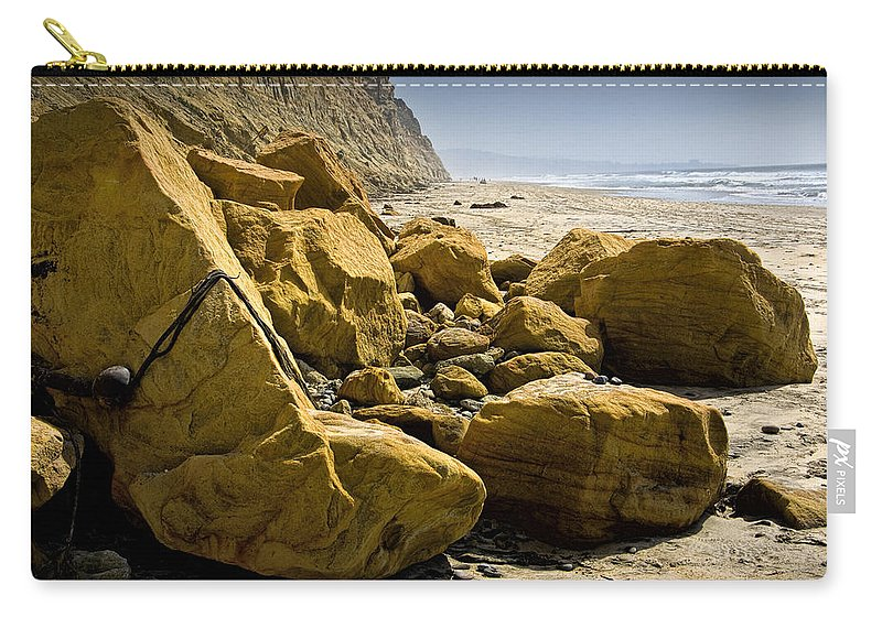 Art Carry-all Pouch featuring the photograph Boulders On The Beach At Torrey Pines State Beach by Randall Nyhof