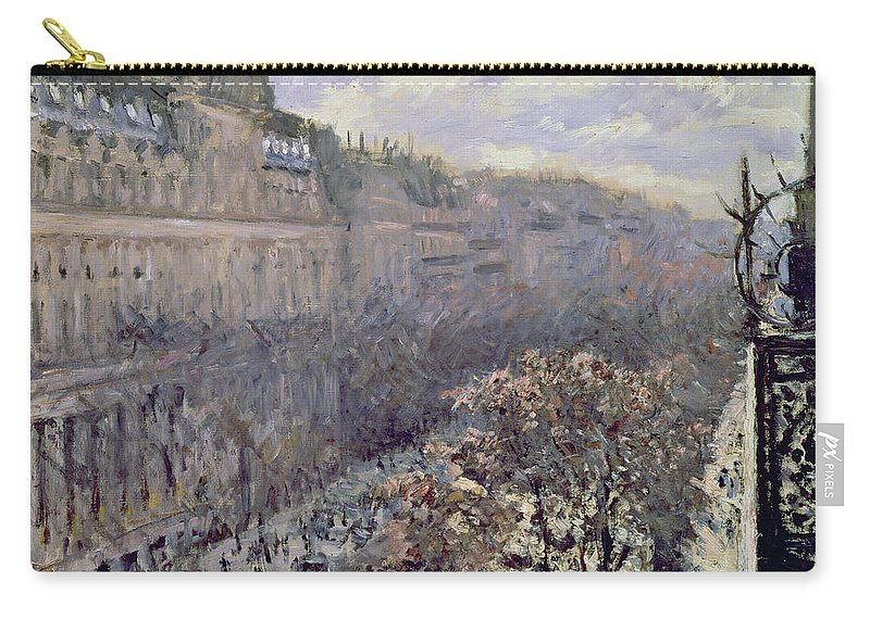 Street Scene Carry-all Pouch featuring the painting Boulevard Des Italiens by Gustave Caillebotte