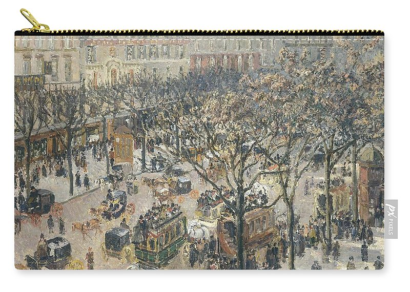 Street; Scene; Paris; France; Traffic; Birds; Eye; View; City; Pedestrians; Busy; Daily; Life Carry-all Pouch featuring the painting Boulevard Des Italiens Morning Sunlight by Camille Pissarro