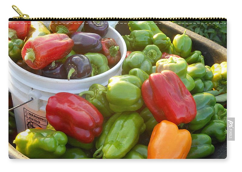 Vegetables Carry-all Pouch featuring the photograph Bountiful Peppers by Coleen Harty