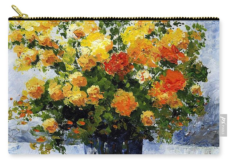 Art Carry-all Pouch featuring the painting Bouquet D'estate 035 by Voros Edit