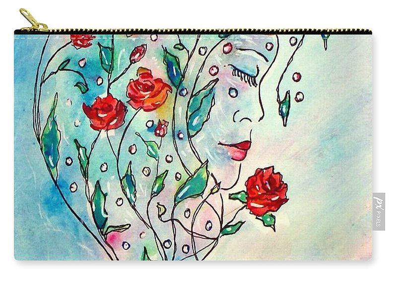 Bouquet Carry-all Pouch featuring the painting Bouquet Of Love by Robin Monroe
