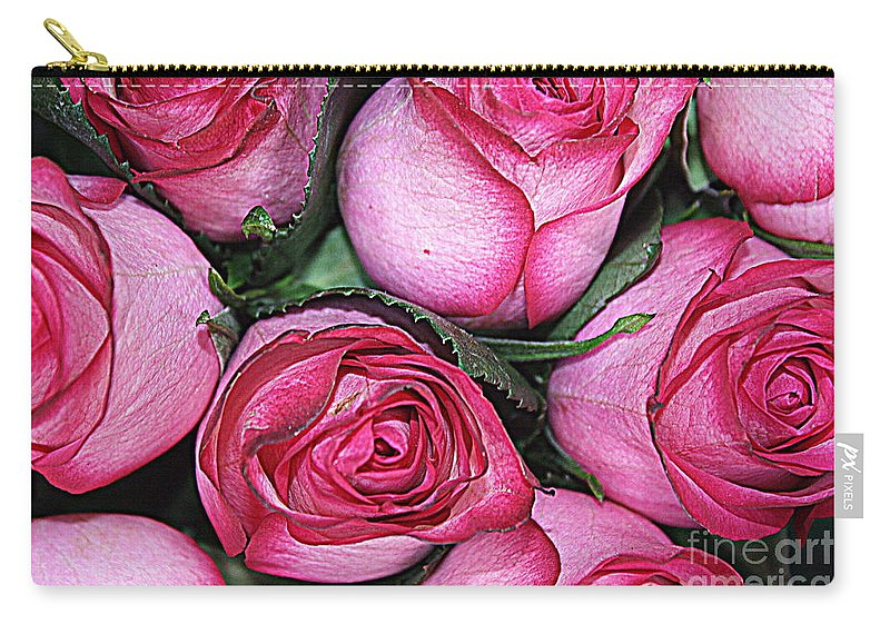 Rose Carry-all Pouch featuring the photograph Bouquet Of Pink Roses by Dora Sofia Caputo Photographic Design and Fine Art