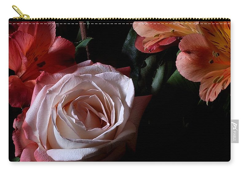 Flowers Carry-all Pouch featuring the photograph Bouquet With Rose by Joe Kozlowski