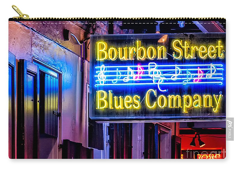 New Orleans Carry-all Pouch featuring the photograph Bourbon Street Blues by Kathleen K Parker
