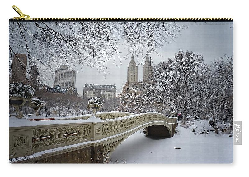 Landscape Carry-all Pouch featuring the photograph Bow Bridge Central Park in Winter by Vivienne Gucwa
