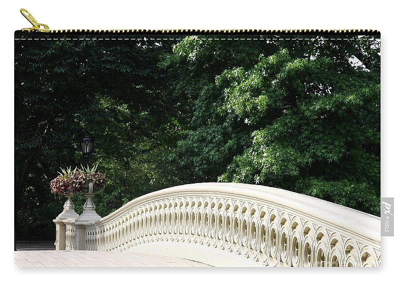 Bow Bridge Carry-all Pouch featuring the photograph Bow Bridge Curve Nyc by Christiane Schulze Art And Photography