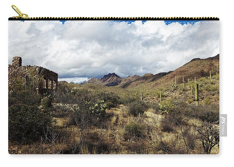 Arizona Carry-all Pouch featuring the photograph Bowen Homestead Ruins by Phill Doherty