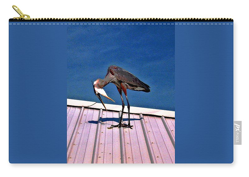 Heron Carry-all Pouch featuring the photograph Bowing Blue Heron by Marian Bell