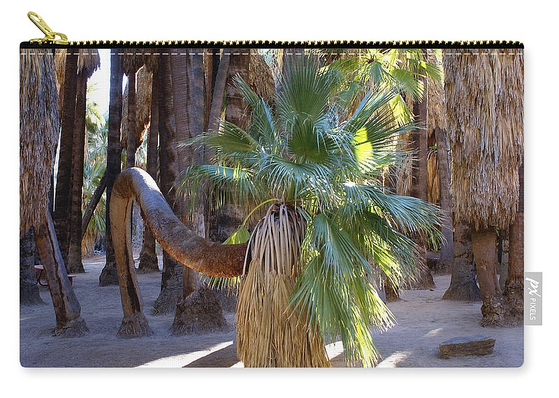 Bowing Palm Tree Carry-all Pouch featuring the digital art Bowing Palm by Barbara Snyder