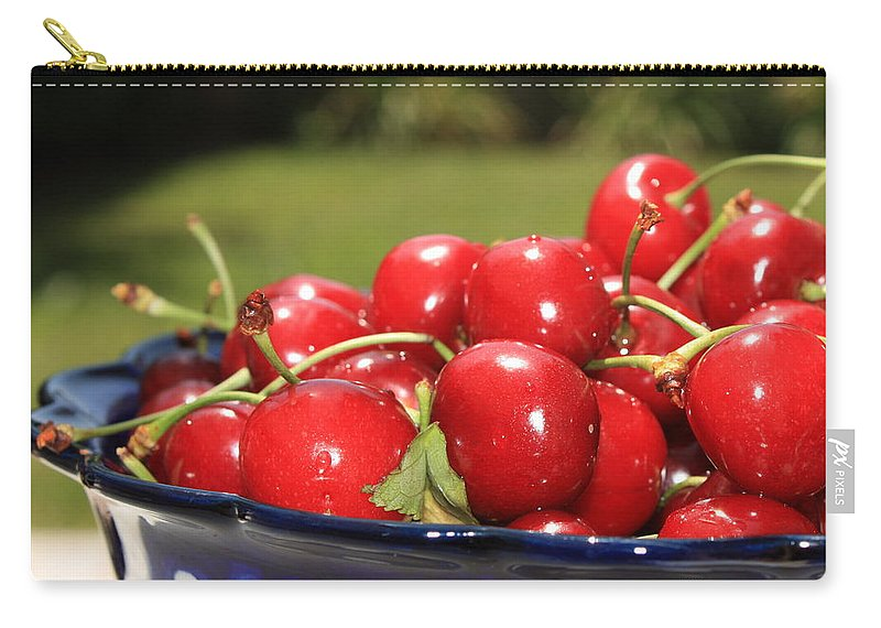 Cherries Carry-all Pouch featuring the photograph Bowl Of Cherries In The Garden by Carol Groenen