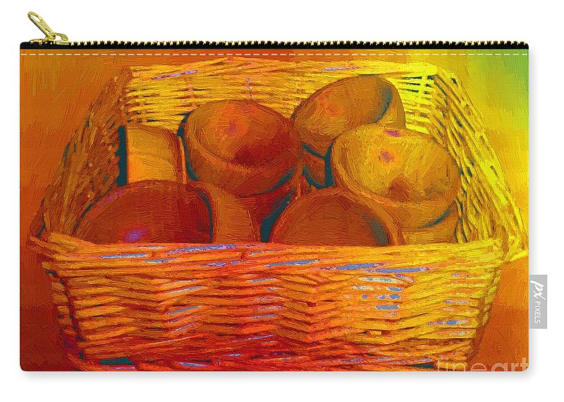 Basket Carry-all Pouch featuring the painting Bowls In Basket Moderne by RC DeWinter