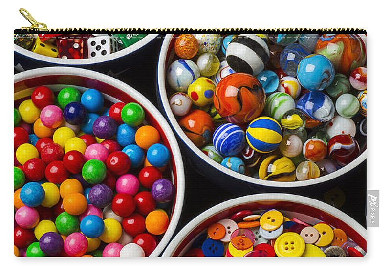 Bowls Carry-all Pouch featuring the photograph Bowls Of Buttons And Marbles by Garry Gay