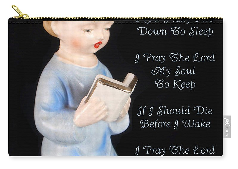 Now I Lay Me Down To Sleep Carry-all Pouch featuring the photograph Boy Childs Bedtime Prayer by Kathy Clark