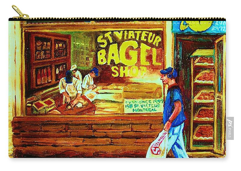 St.viateur Bagel Carry-all Pouch featuring the painting Boy With The Steinbergs Bag by Carole Spandau