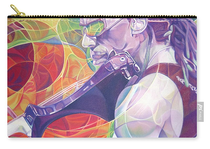 Boyd Tinsley Carry-all Pouch featuring the drawing Boyd Tinsley And Circles by Joshua Morton