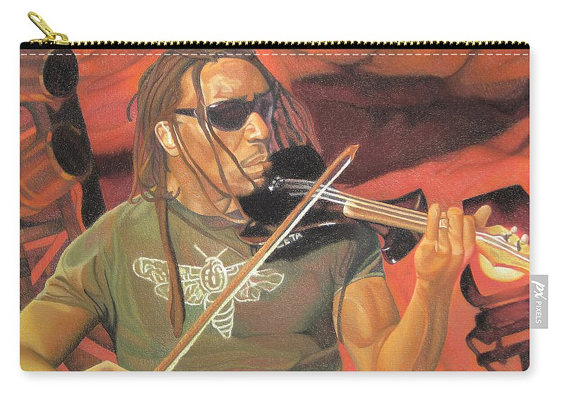 Boyd Tinsley Carry-all Pouch featuring the drawing Boyd Tinsley At Red Rocks by Joshua Morton