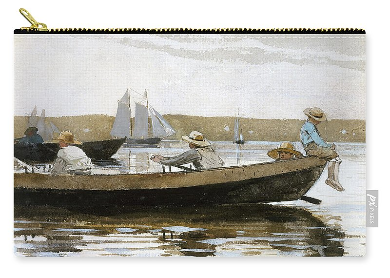 Winslow Homer Carry-all Pouch featuring the drawing Boys In A Dory by Winslow Homer