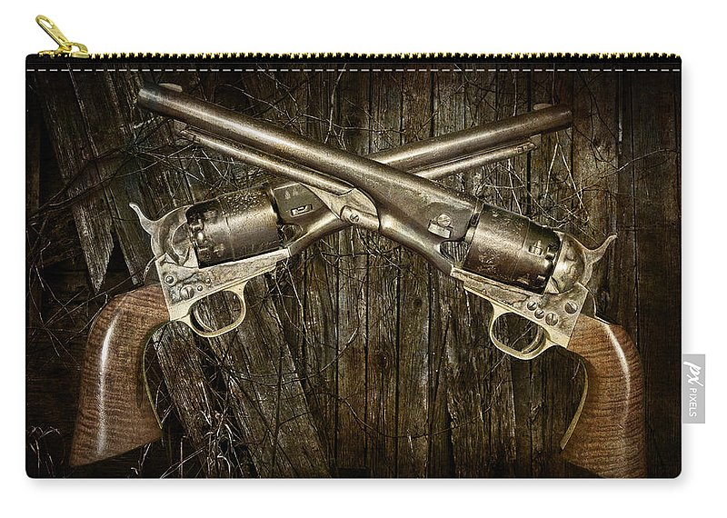 Colt Carry-all Pouch featuring the photograph Brace Of Colt Navy Revolvers by Randall Nyhof