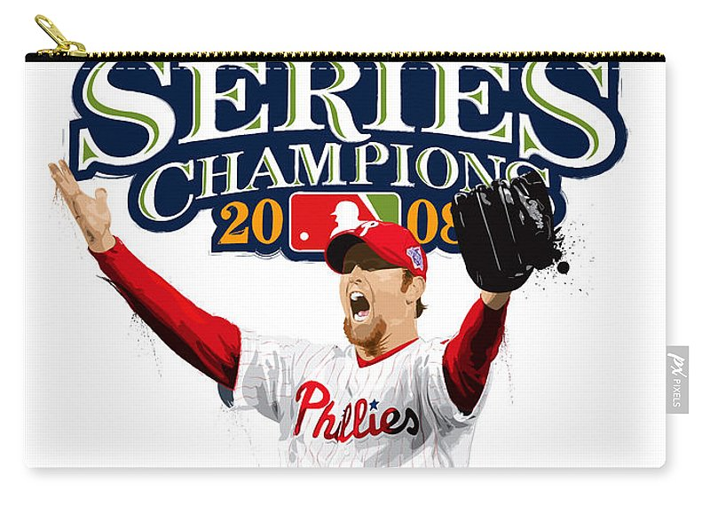 Brad Lidge Carry-all Pouch featuring the digital art Brad Lidge Ws Champs Logo by Scott Weigner