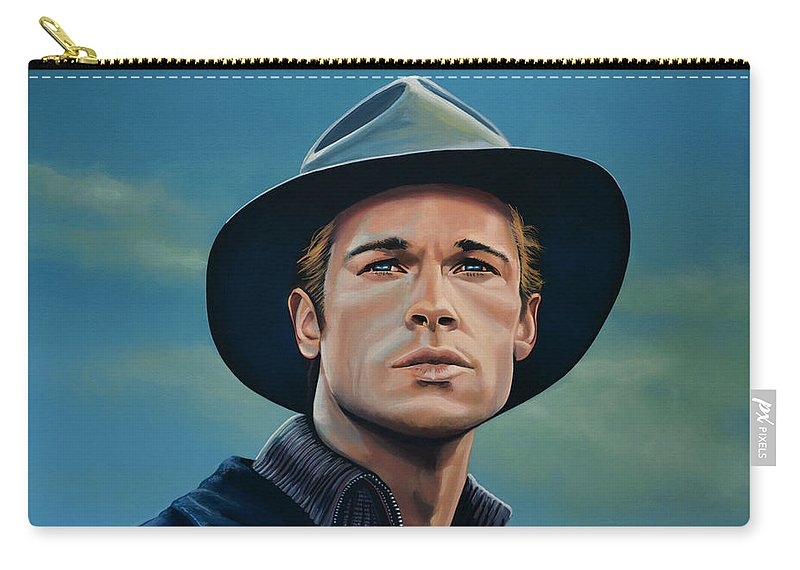 Brad Pitt Carry-all Pouch featuring the painting Brad Pitt Painting by Paul Meijering