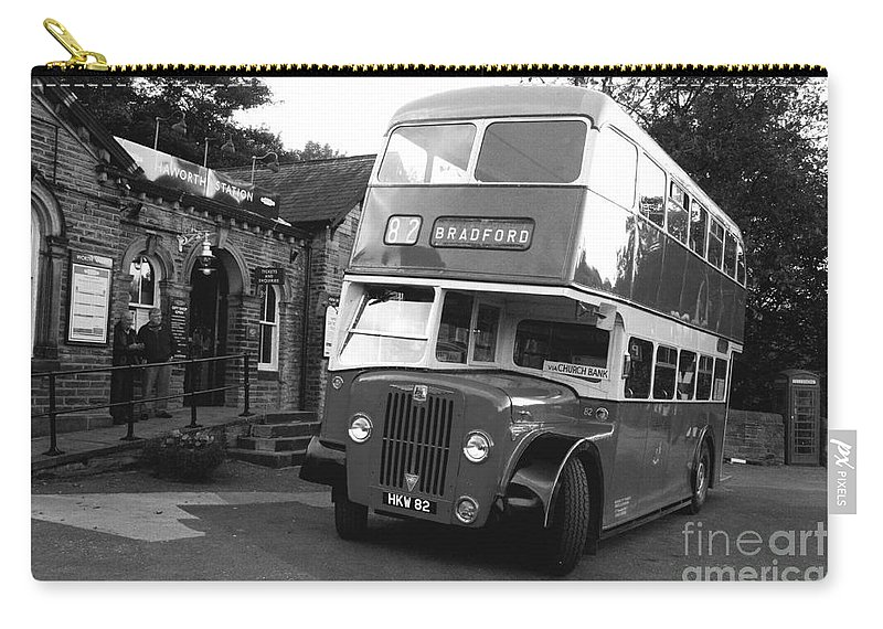 Vintage Carry-all Pouch featuring the photograph Bradford Bus In Mono by Rob Hawkins
